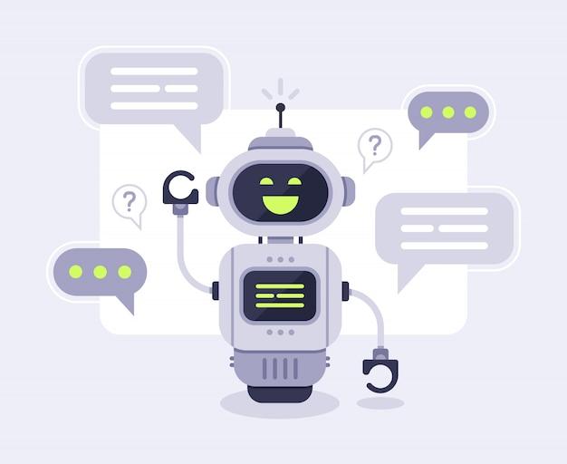 Чат бот сообщений. интеллектуальная беседа с помощником чатбота, робот поддержки клиентов в интернете и иллюстрация с роботами