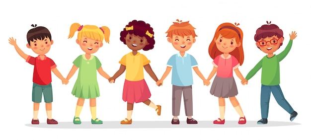 幸せな子供たちのチーム。多国籍の子供、学校の女の子と男の子が手をつないで一緒に立つイラストを分離