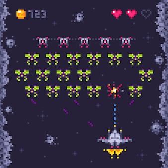 Космическая аркада уровня игры. ретро-захватчики, пиксель-арт видеоигры и иллюстрация к космическому кораблю «монстр-захватчик»