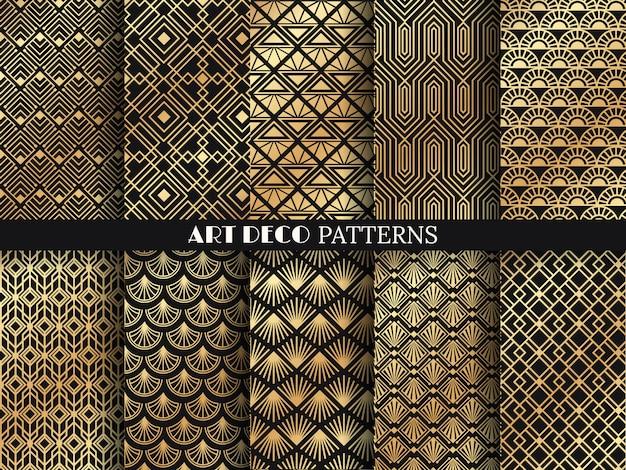 アールデコパターン。黄金のミニマリズムライン、ヴィンテージの幾何学的な芸術とデコライン華やかなシームレスパターンセット