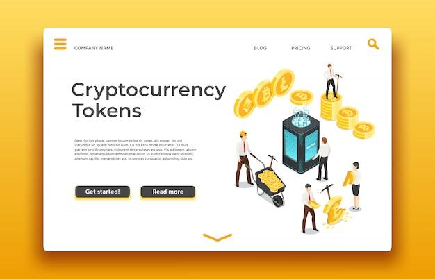 ブロックチェーンと暗号通貨のランディングページ。等尺性の人々コインをマイニングします。ウェブ