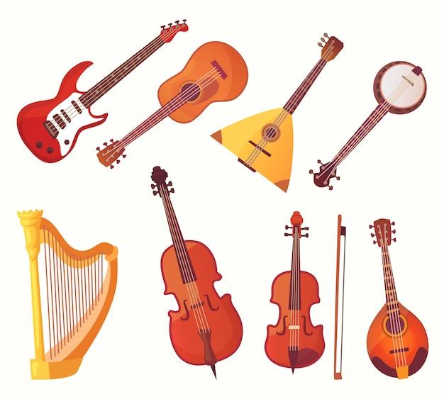 Мультяшные музыкальные инструменты. коллекция гитарных музыкальных инструментов