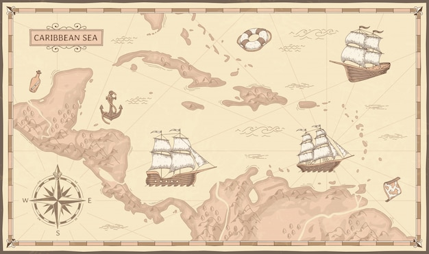 古いカリブ海の地図。古代の海賊ルート、ファンタジーの海の海賊船、ビンテージ海賊マップイラスト