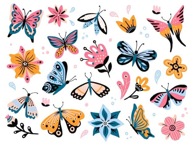 春の花と蝶。カラフルな庭の花、花の装飾、エレガントなバタフライ分離セット
