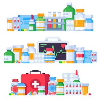 Лекарственные препараты. лекарственные таблетки, флакон с лекарственными препаратами и антибиотик. аптека лекарства изолированные иллюстрации набор