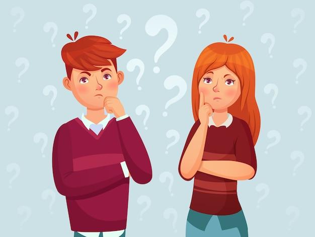 若い思考のカップル。混乱しているティーンエイジャー、心配している思慮深い学生、ティーンエイジャーは漫画イラストを考える
