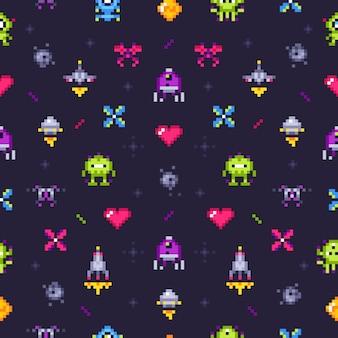 古いゲームのシームレスなパターン。レトロゲーム、ピクセルビデオゲーム、ピクセルアートアーケード