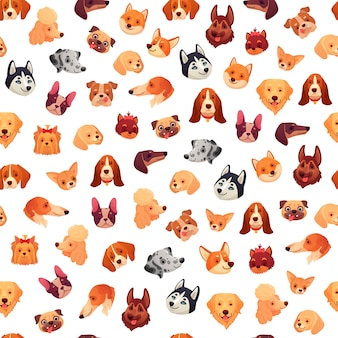 シームレスな犬の顔。面白い犬の顔、子犬ペットの頭、動物グループパターン