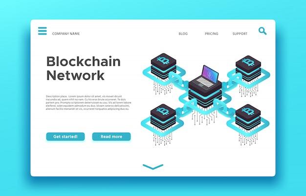Целевая страница блокчейна. изометрическая сеть майнинга криптовалют