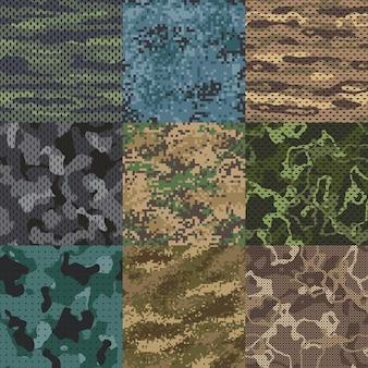 Хаки текстуры. бесшовные модели камуфляжной ткани, текстуры военной одежды и армейский принт