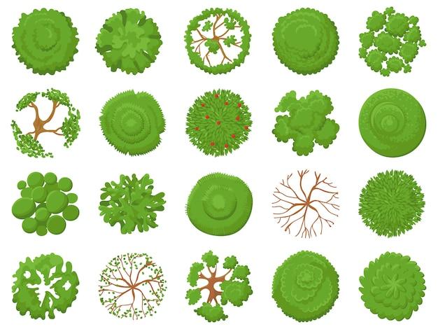 トップビューツリー。緑の木々、公園の地図の植生、熱帯林の地図を植栽するイラストセットの上から表示