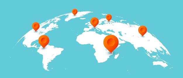 世界旅行マップ。グローバルな地球地図上のピン、世界的なビジネスコミュニケーション分離図