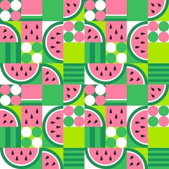 スイカのシームレスなパターン。抽象的な夏の果物