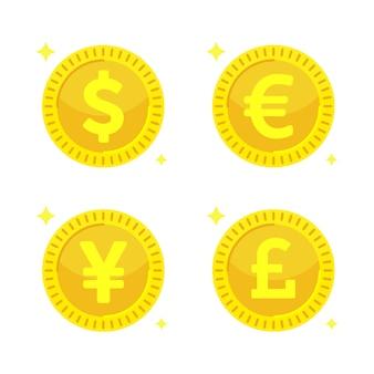 Золотые монеты. желтые деньги - доллар, евро, иена и британский фунт стерлингов.