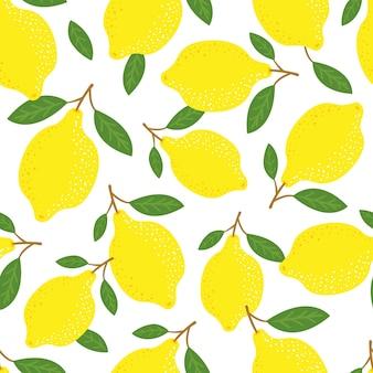 レモンと葉のシームレスなパターン、熱帯の黄色の柑橘類。