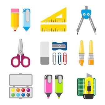学校およびオフィスの文房具。アイコンはフラットスタイルに設定します。さまざまな学校アイテムのセット。