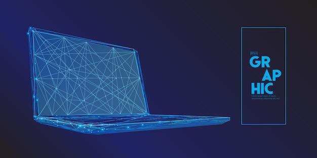 多角形で構成されるラップトップコンピューター。