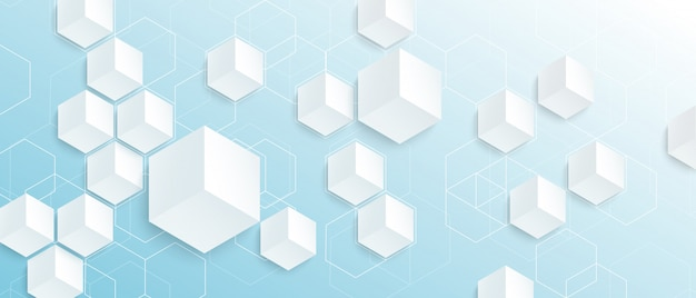 青の背景に現代の空の抽象的な幾何学的な六角形の形。