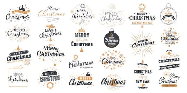 メリークリスマスを設定します。タイポグラフィデザインと新年あけましておめでとうございます。