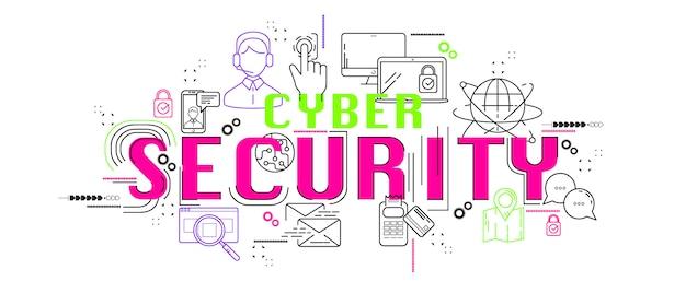 Кибер-безопасности баннер веб-значок нового дизайна приложения.