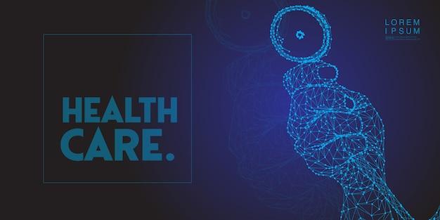 医学聴診器低ポリヘルスケア世界デーを持つ医師の手。