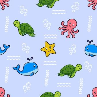 海の動物のキャラクターとのシームレスなパターン