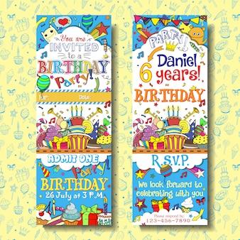 誕生日パーティーの招待状は、チケットのデザインを渡します。いたずら書きの背景を持つ顔と裏側