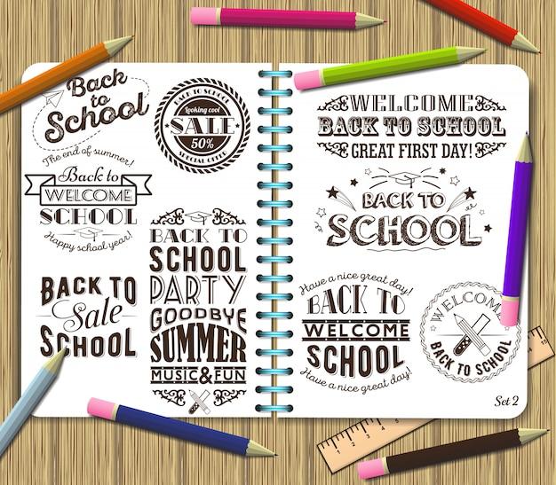 Обратно в школу и продажа надписи элемент дизайна на фоне тетрадей с цветными карандашами