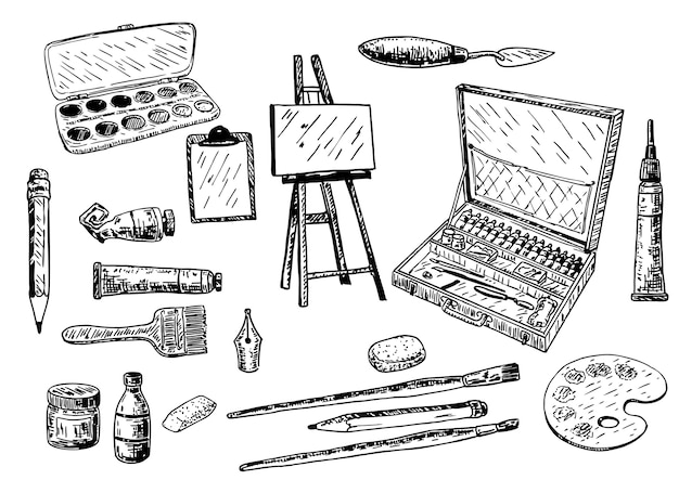 Рисованный набор инструментов и аксессуаров для рисования