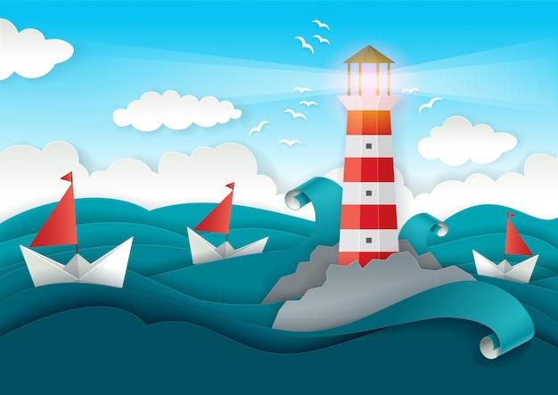 灯台とボートが海に浮かぶ。