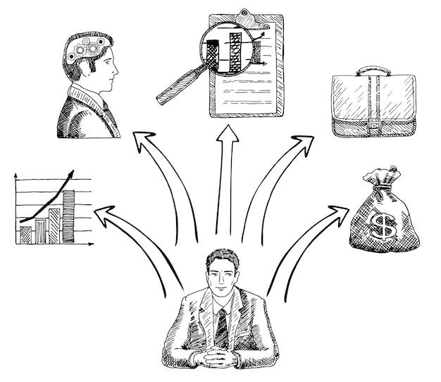 Бизнесмен, делая бизнес концепции решения рисованной