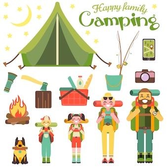 幸せな家族がキャンプに行きます。フラットスタイルのデザインのベクトル図。