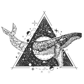 Кит татуировка в стиле арт