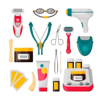 脱毛のアイコンを設定します。レーザー、脱毛器、脱毛クリーム、ワックスストリップ、ワックスの瓶、剃毛かみそり、眉毛ピンセット、はさみのベクトルイラスト