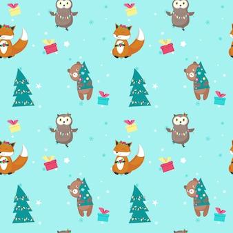 Вектор бесшовные модели с милыми рождественскими животными