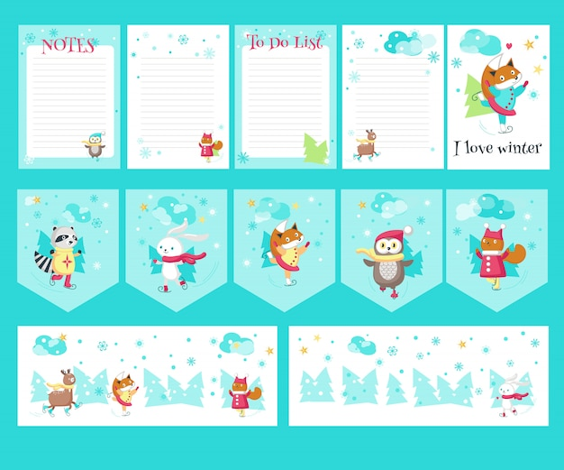 Векторный набор карточек с милыми животными на коньках