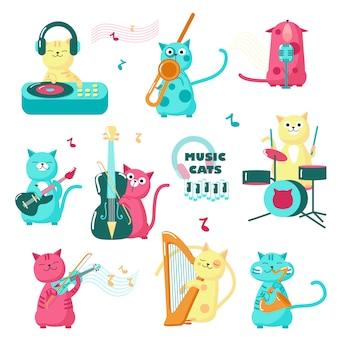 Симпатичные музыкальные коты. забавные маленькие персонажи играют на музыкальных инструментах, поют, слушают музыку