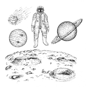 Эскиз пространства значок набор иллюстрации