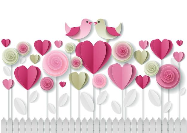 バレンタインの日グリーティングカードペーパーアート