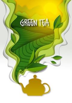 Чайник с ароматическим зеленым чаем на бумаге арт