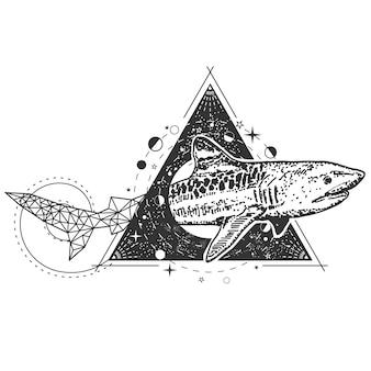 Тату с геометрической акулой