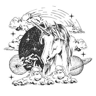 魔法のユニコーンのタトゥー