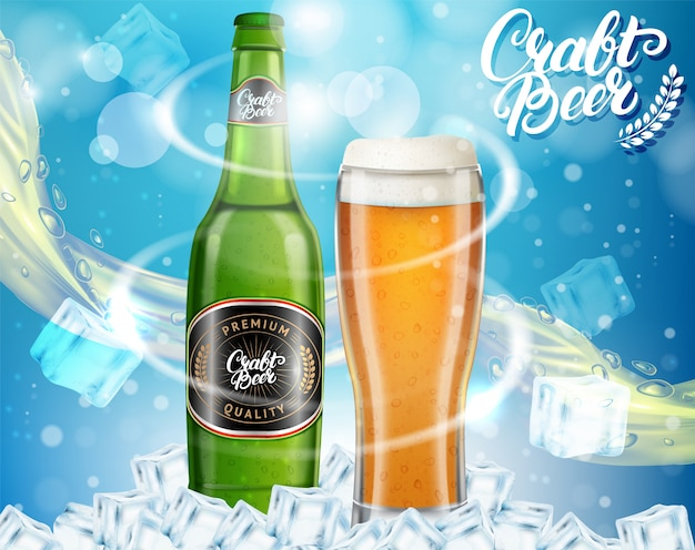 Шаблон рекламы пива в бутылках