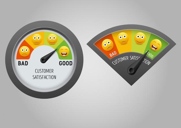 Метр удовлетворенности клиентов векторная иллюстрация