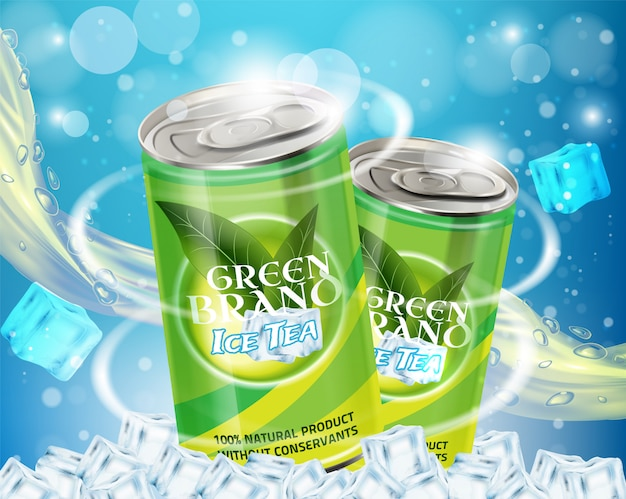 Зеленый ледяной чай реклама вектор реалистичные иллюстрации