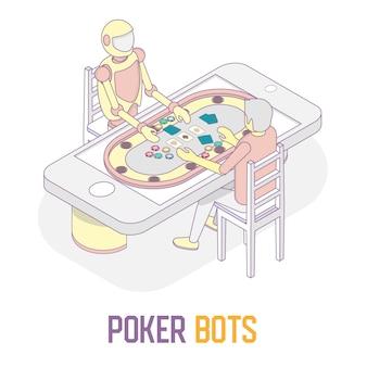 ポーカーボット概念ベクトルアイソメ図
