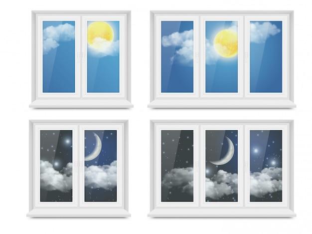 Векторные реалистичные белые пластиковые окна