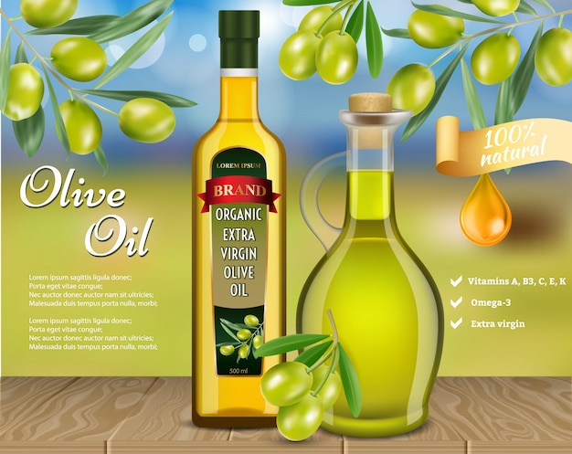 Оливковое масло б рекламный вектор реалистичный шаблон