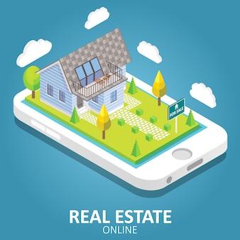 Недвижимость онлайн векторная иллюстрация изометрии