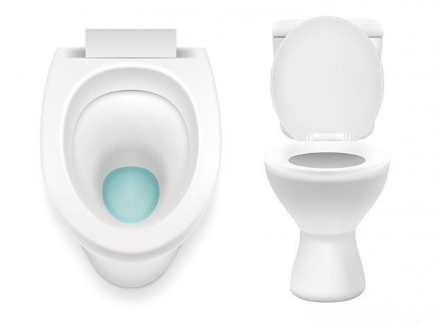 Белый туалет изолированные вектор реалистичные иллюстрации